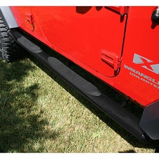 4 1/4-inch Oval Tube Side Steps, Black, 07-17 Wrangler Unlimited by Rugged Ridge