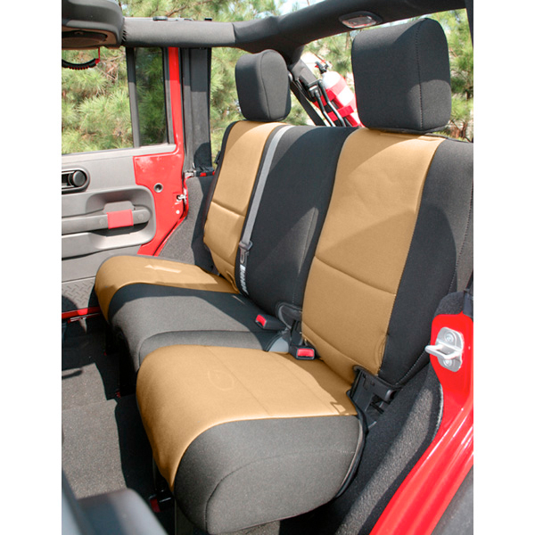 Astounding Neoprene Rear Seat Cover Black And Tan 07 17 Jeep Wrangler Dailytribune Chair Design For Home Dailytribuneorg
