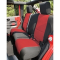 Neoprene Rear Seat Cover, Black and Red, 07-17 Jeep Wrangler by Rugged Ridge