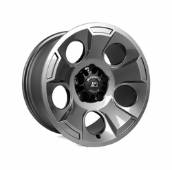 Set of 5 Drakon Cast Aluminum Wheels with Chrome Lug Nuts, 17 X 9 Gun Metal, fits 2007-2017 Jeep Wrangler JK Models