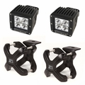 Small X-Clamp & Cube LED Light Kit, Black, Pair by Rugged Ridge