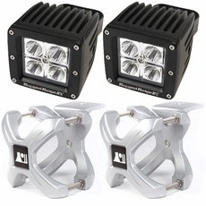 Small X-Clamp & Cube LED Light Kit, Silver, Pair by Rugged Ridge