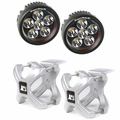 Small X-Clamp & Round LED Light Kit, Silver, Pair by Rugged Ridge