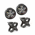 Small X-Clamp & Round LED Light Kit, Textured Black, Pair by Rugged Ridge