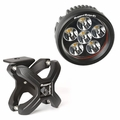 Small X-Clamp & Round LED Light Kit, Textured Black, Single by Rugged Ridge