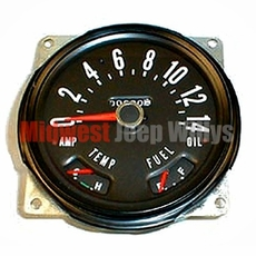 Speedometer Cluster Assembly, 0-140 KPH, 1955-1979 CJ5, CJ6, CJ3B, CJ7 Models