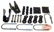 Spring Mounting Kit (Rear), fits Jeep Wrangler 1987-1995 w/ Dana 35 Rear Axle; Includes Brackets, U-Bolts and Shackle Kits