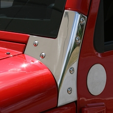 Windshield Hinges, Stainless Steel, 07-17 Jeep Wrangler by Rugged Ridge