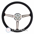 Steering Wheel, Black 3 Metal Spoke Design with Leather Trim, 1976-95 Jeep CJ7 & Jeep Wrangler YJ