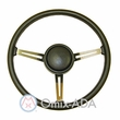 Steering Wheel Kit with Horn Button Cap, Black 3 Metal Spoke Design, 1976-95 Jeep CJ7 & Jeep Wrangler YJ