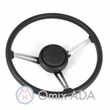 Steering Wheel Kit with Horn Button Cap, Black 3 Metal Spoke Design with Leather Trim, 1976-95 Jeep CJ7 & Jeep Wrangler YJ