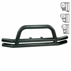 3-Inch Double Tube Front Bumper, Black, 76-06 Jeep CJ and Wrangler by Rugged Ridge