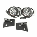 Windshield Bracket LED Kit, Textured Black, Round, 07-18 Jeep Wrangler by Rugged Ridge