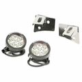 Windshield Bracket LED Light Kit, Round, Stainless Steel, 07-18 Wrangler by Rugged Ridge