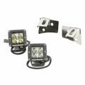 Windshield Bracket LED Light Kit, Cube Lights, Stainless Steel, 07-17 Wrangler by Rugged Ridge