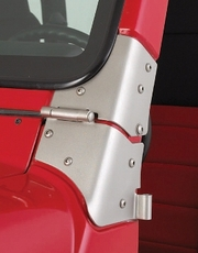 Windshield Hinge Kit, Satin Stainless Steel, 97-06 Jeep Wrangler by Rugged Ridge