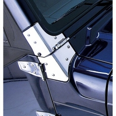 Windshield Hinges, Stainless Steel, 97-06 Jeep Wrangler by Rugged Ridge