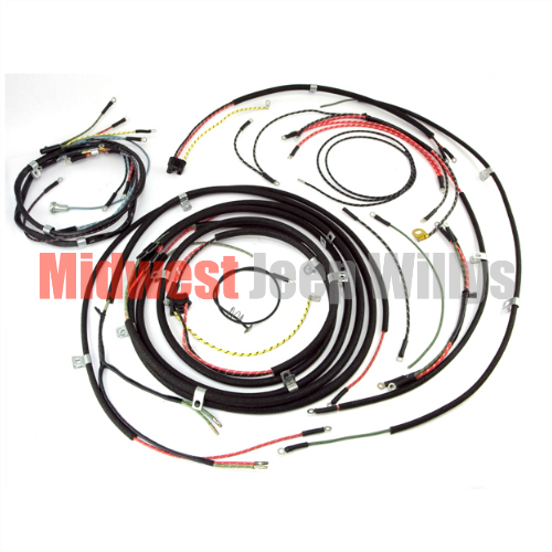 jeep willys truck wiring diagram jeep part 645743 wiring harness kit no turn signals fits 1950 jeep willys truck wiring harness #2