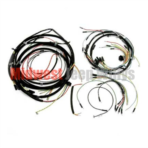 jeep part 925159 complete cloth covered wiring harness kit for 1957 rh midwestjeepwillys com Jeep Liberty Trailer Wiring Harness Jeep Grand Cherokee Trailer Wiring Harness
