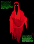 Faceless Red Hooded Blacklight Floating Ghost Prop Phantom Spirit Decoration