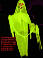 GIANT BLACKLIGHT HAUNTED HOUSE HALLOWEEN PHANTOM GHOST PROP YELLOW SKELETON