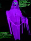 GIANT UV HAUNTED HOUSE HALLOWEEN PHANTOM GHOST PROP PURPLE SKELETON