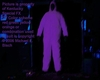 Halloween Ghost Blacklight Jumpsuit Outfit Costume Hooded