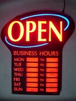 Newon LED Lighted OPEN Sign with Business Hours Neon Light Up