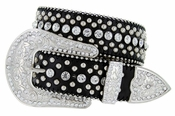 50116 Western Rhinestone Crystal Leather Belt 1-1/2""