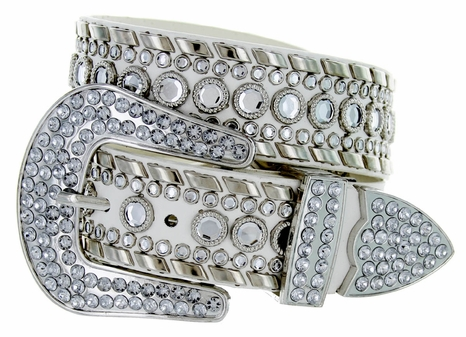 "50118 Rhinestone Western Belt 1.5"" Wide - White"
