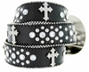 50127 Western Cowgirl Bling Cross Rhinestone Leather Belt - Black