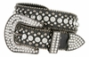 "50158 Women's Western rhinestone studded Leather Belt 1-1/2"" Wide - Black"