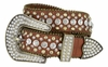 "50158 Women's Western rhinestone studded Leather Belt 1-1/2"" Wide - Brown"