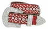 "50158 Women's Western rhinestone studded Leather Belt 1-1/2"" Wide - Red"