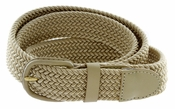 "7001 Leather Covered Buckle Woven Elastic Stretch Belt 1-1/4"" Wide-Beige"
