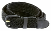 "7001 Leather Covered Buckle Woven Elastic Stretch Belt 1-1/4"" Wide-Black"