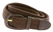 "7001 Leather Covered Buckle Woven Elastic Stretch Belt 1-1/4"" Wide-Brown"