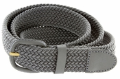 "7001 Leather Covered Buckle Woven Elastic Stretch Belt 1-1/4"" Wide-Gray"