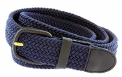 "7001 Leather Covered Buckle Woven Elastic Stretch Belt 1-1/4"" Wide-Navy"