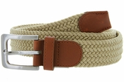 "7001G Fabric Leather Elastic Woven Stretch Belt 1-3/8"" Wide-Beige"