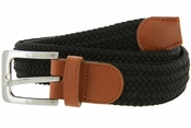 "7001G Fabric Leather Elastic Woven Stretch Belt 1-3/8"" Wide-Black"