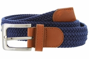 "7001G Fabric Leather Elastic Woven Stretch Belt 1-3/8"" Wide-Navy"