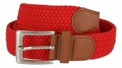 "7001G Fabric Leather Elastic Woven Stretch Belt 1-3/8"" Wide-Red"