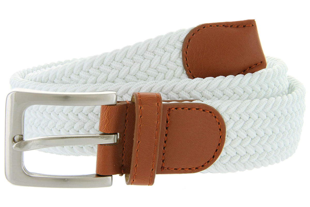 Womens WHITE Fabric Leather Elastic Woven Stretch Belt 1-3//8 Wide 2XL