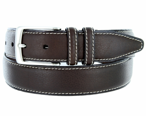 American Brown Bison Leather Dress Belt