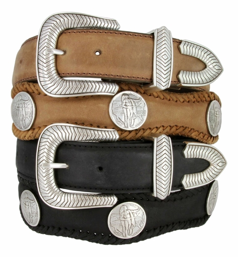 "American Indian Coin Concho Leather Belt 1 1/2"" Wide"
