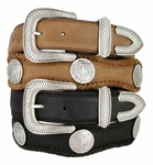 """American Indian Coin Concho Leather Belt 1 1/2"""" Wide"""