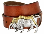 """Antique Silver/Gold Lady Bull Belt Buckle Casual Jean Leather Belt 1-1/2"""" wide"""
