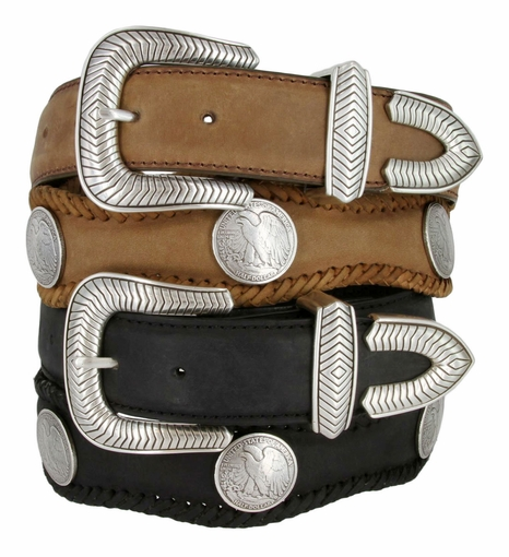 "Arlington Western Coin Concho Leather Belt 1-1/2"" Wide"