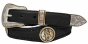 Barrel Racer Round Rope Edge Western Concho Leather Belt
